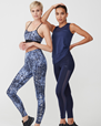 Yogabyxor Flattering AOP Tights, Navy Dot - Stay in place